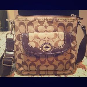 Brown coach mini crossbody
